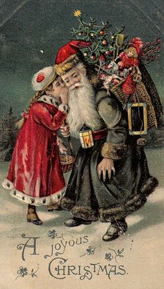 1906 Little Girl Whispers to Black Robe Santa A Joyous Christmas Postcard Vintage Christmas Images, Old Christmas, Old Fashioned Christmas, Christmas Scenes, Victorian Christmas, Father Christmas, Retro Christmas, Vintage Holiday, Christmas Greetings