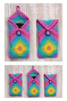 Here's a fun way to crochet a chromatic phone case for your cell. Start with two solid granny squares, turn them, and sew them together. Makes a nice gift! granny square videos How to Crochet Chromatic Phone Case Video