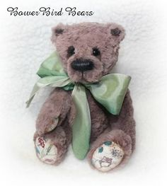 Harvey  Bear 8 inches high made from hand dyed Italian viscose. Now ADOPTED!