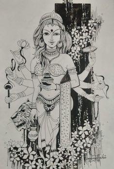 Womens art painting goddesses Ideas for 2019 Krishna, Shiva, Bengali Art, Indian Contemporary Art, Kalamkari Painting, Lord Ganesha Paintings, Abstract Painting Techniques, Dancing Drawings, Indiana