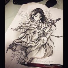 Sketch Mulan. #theinkersclub #chrisyamamoto #tattoo #tattoos #tattoopr…