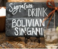 Put chalkboard paint on a wooden plank for bar menu signs. |  rebecca ellison photography, dallas