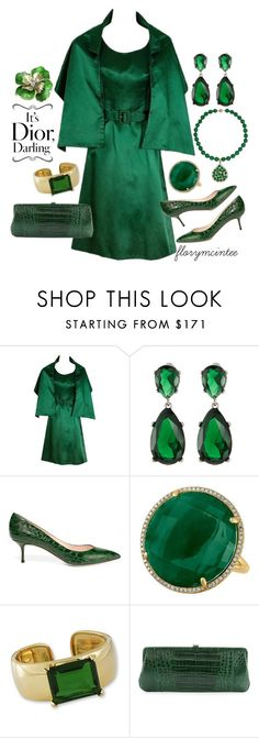 """""""1960 Christian Dior Paris Demi-Couture"""" by florymcintee ❤ liked on Polyvore featuring Kenneth Jay Lane, Casadei and Nancy Gonzalez"""