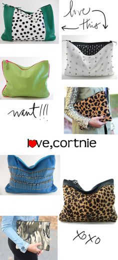 I am in love with all these clutches by Love Cortnie www.PeridotSkys.com