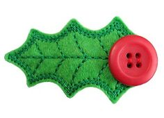 GG Designs Embroidery - Holly Leaf FELT STITCHIES Snap Barrette Clip Cover (in the hoop) (Powered by CubeCart)