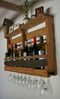 Reclaimed Pallet Wine Rack & Shelf Recycled Wood by dharmadesigned, $99.00