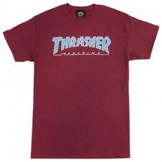 Thrasher Outlined Skate Mag Logo T Shirt in Cardinal