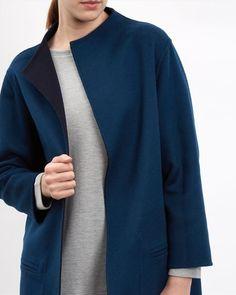 Wool Reversible Duster Coat - null - Model Back Image