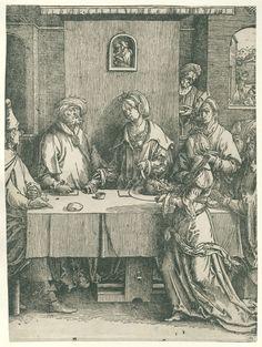 Lucas van Leyden | Salomé met het hoofd van Johannes de Doper, Lucas van Leyden, 1512 - 1516 | Salomé met het hoofd van Johannes de Doper op een schaal, Herodias en Herodes aan tafel gezeten. Op achtergrond onthoofding van Johannes.