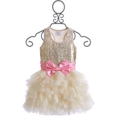 Ooh La La Couture Champagne Wow Dream Dress for Girls (465 BRL) ❤ liked on Polyvore featuring girls dresses