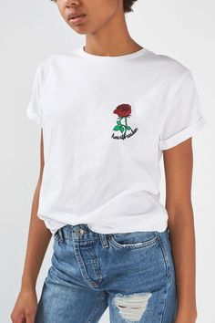 PETITE Heartbreaker T-Shirt - White cotton tee with a subtle 'heartbreaker' and rose embroidery detail on front. Simple but cute!