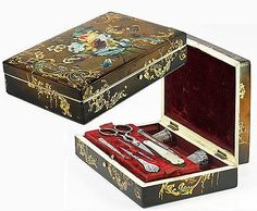 Victorian Papier Mache Sewing Box, Silver Tools, Jeweled Thimble, Knife Buy It Now $1165.50