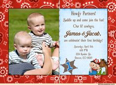 50 best cute twin birthday invitations images on pinterest in 2018 country twins birthday photo invitation red siblings double party sibling birthday parties twin birthday filmwisefo