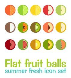 Flat Fruit Balls by Giovanna Mastrocola, via Behance   #fruity #flat #icons