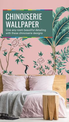 Our Pink Paradise Palm Leaf Wallpaper is perfect for a romantic pink bedroom. Why not add a stunning feature wall to create a tropical feel. From bright botanical prints to stunning abstract designs, choose your perfect wallpaper from a vast collection. All wallpapers are made to your dimensions and printed onto a selection of high-quality wallpapers including peel and stick wallpaper - great for rented homes! Click to see the full collection...#wallpaper #homedecor #pinkbedroom… Palm Leaf Wallpaper, Peel And Stick Wallpaper, Chinoiserie Wallpaper, Perfect Wallpaper, High Quality Wallpapers, Design Your Home, Beautiful Bedrooms, Botanical Prints, Designer Wallpaper