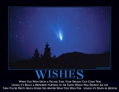 """""""When you wish upon a falling star, your dreams can come true. Unless it's really a meteorite hurtling to the Earth which will destroy all life. Then you're pretty much hosed no matter what you wish for. Unless it's death by meteor."""""""