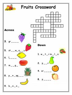 Fruits Crossword Puzzles For Kids - Printable Coloring Pages English Activities For Kids, Learning English For Kids, Worksheets For Kids, Kids Learning, Printable Worksheets, Free Printable, Kids Crossword Puzzles, Word Puzzles For Kids, Puzzle Games For Kids