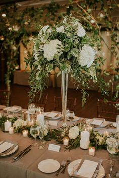 Lush Ohio Wedding at The Club at Hillbrook greenery galore at this lush wedding reception in Ohio Greenery Centerpiece, Tall Wedding Centerpieces, Wedding Flower Arrangements, Flower Centerpieces, Wedding Decorations, Centerpiece Ideas, Quinceanera Centerpieces, Hall Decorations, White Centerpiece