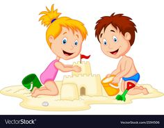 Children cartoon making sand castle vector image on - Caarton Cute Cartoon Pictures, Cute Love Cartoons, Cartoon Images, Cute Pictures, Castle Illustration, Family Illustration, Children Images, Children Cartoon, Beach Cartoon