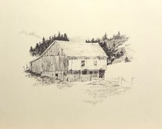 """""""The Old Homestead"""", 8 x pencil on sketch paper. Copied from a sketch book by Ferdinand Petrie. More practice. Pencil Drawings Of Nature, Sketch Paper, Ferdinand, Artsy Fartsy, Homesteading, Old Things, Sketches, Book, Kunst"""