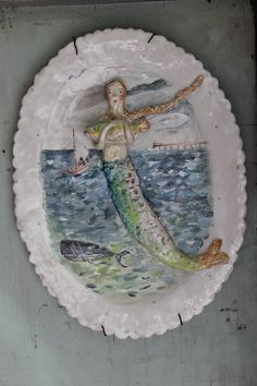 by Julie Whitmore Pottery Mixed media mermaid ceramic platter fourteen by ten
