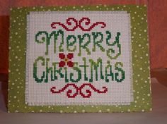 counted cross stitch card Merry Christmas by CardsandDesignsbyDeb
