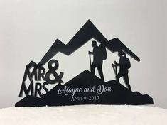 Mr & Mrs First Names and Date Silhouette Mountain Hiker Couple