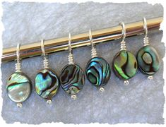 Paua Shell stitch markers, would make lovely earrings
