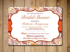 """Bridal Shower Invitation Template - Autumn Burnt Orange Gold Burgundy Red Mango """"Chic Paisley"""" - Instant Download Bridal Luncheon Template by PaintTheDayDesigns"""