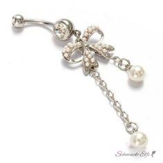 Bauchnabel Piercing weiße  Perle mit  Schleife 316...