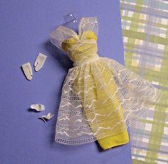 987-034-Orange-Blossom-034-Sheath-Dress-Gloves-Shoes-1961-64-VTG-Barbie-Clothes