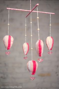 Pink Girly Hot air balloon baby mobile with rhinestone diamonds on Etsy, $21.00
