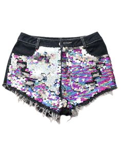 Whiskering Sequins-detailed Denim Shorts