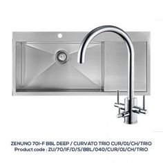 ZENUNO 70 I-F BBL – DEEP Single Bowl with Drainer with URVATO TRIO Chrome Filter Tap