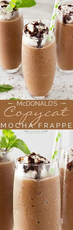 Copycat Mocha Frappe Just 4 ingredients! Forget spending your money on a frozen coffee drink, make your own mocha frappe at home! Weight Watcher Desserts, Smoothie Drinks, Smoothie Recipes, Mocha Smoothie, Frozen Coffee Drinks, Yummy Drinks, Yummy Food, Café Chocolate, Chocolate Milkshake