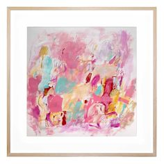 """A vibrant blend of pink tones accented with blue and yellow strokes, """"Surprise Party"""" is sweet and sugary eye-candy, perfect for a girl's bedroom. This bold and beautiful abstract artwork works well as a contemporary feature or as a vibrant complementary accent.This original design supplied by artist Yumi Phillips is under exclusive licence for strictly limited production."""