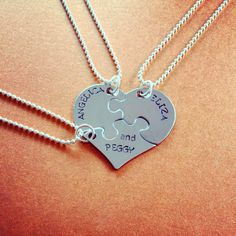 """The Schuyler Sisters Heart BFF Necklace Trio Inspired By Hamilton Broadway Musical  Stamped on surgical steel puzzle pieces, are the names of each of the Schuyler sisters. When put together, the pendants form a heart like with classic BFF necklaces. The question, is who is your group of friends is lucky enough to get """"and Peggy""""?"""