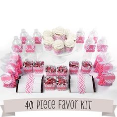 Chevron Pink  DIY Party Favors Kit  40 Piece Decoration Set *** More info could be found at the image url. (Note:Amazon affiliate link) #PartyDecorationsDIY