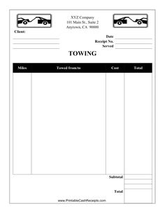 basic cleaning invoice template see more this towing receipt can be used by a towing company or garage free to download