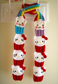 Perfect scarf for the little (or big!) fans of Hello Kitty. Pattern name is Hello Kitty Cupcake Scarf by Lisa Casillas. $6.99