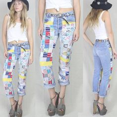 Vtg 70s/80s Patchwork Denim Levis Skinny Jeans by ragdollvintage, $165.00