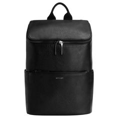 """Function meets fashion with this classic black backpack from Canada's favourite cruelty-free fashion brand. It features a roomy interior with a top zipper closure to keep all of your valuables secure and slide slit pockets for easy access on-the-go. This travel accessory is an everyday must-have. 100% recycled nylon lining. 100% vegan leather outer. Adjustable shoulder straps: 34"""". 14"""" x 10"""" x 5.75""""."""