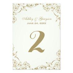 Wedding Table Number Cards   Antique Floral Border