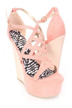 09cd28f6530e6  Salmon Strappy Open Toe Wedges Faux Suede