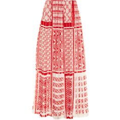 Fendi Foulard-print plumetis-chiffon maxi skirt ($945) ❤ liked on Polyvore featuring skirts, red multi, maxi skirt, long print skirt, red maxi skirt, patterned skirts and ankle length skirt