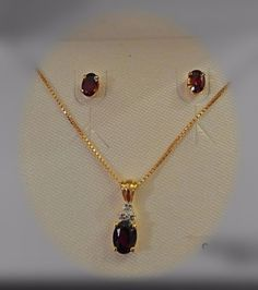 18K Gold Over Sterling Silver Garnet and Diamond Pendant Necklace and Earrings #NecklaceandEarrings #Pendant