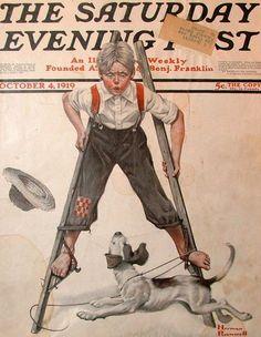 Stilt Walker   Octobedr 4, 1919     Saturday Evening Post  Norman Rockwell