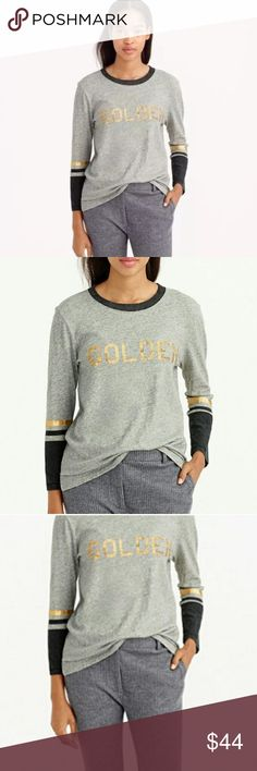 """❗️J. Crew """"Golden"""" 3/4 Sleeve Tee MSRP $58 ❗️J. Crew """"Golden"""" 3/4 Sleeve Tee. Retails $58 in great condition size XS. Feel free to make an offer! I'm giving to the first reasonable offer I receive & give great bundle deals! Spring cleanout sale--all must go! ;-) J. Crew Tops"""