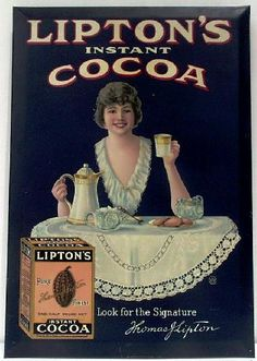 For Sale on - We are lovers of antique advertising, especially tin. There is just something about tin signs and trays that have always intrigued us. Here is a nice example Advertising History, Advertising Signs, Vintage Advertisements, Vintage Ephemera, Vintage Cards, Vintage Signs, Cocoa Chocolate, Retro Images, Vintage Packaging
