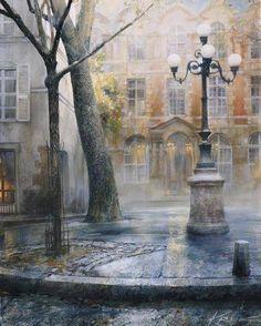 Andrei Krioutchenko makes me feel I am in Paris. Watercolor Landscape, Watercolor Paintings, Watercolors, Maurice Utrillo, Paris 1900, Art Aquarelle, Paris Painting, Georges Seurat, Henri Rousseau